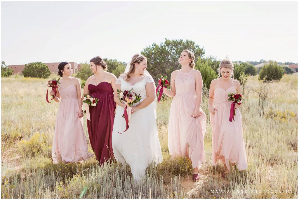 Bride and Bridesmaids in desert setting